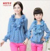 2012Autumn New korea design trendy woman and children high quality long sleeve shirt baby girl falbala dot blouses