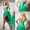 Lovely Design 2013 Green Organza Strapless Front Short Long Back Party Dress Evening Dress