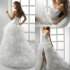 BW112 Hot sale sweetheart lace embroidery hi-lo big tulle skirt wedding dress/high low bridal gowns 2012
