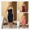 Taffeta Sweetheart Strapless Tea-Length Beaded Custom Bridesmaid Dress