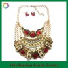 Colorful Stone Alloy Bib Statement Necklace Set