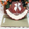 invitation card with skirt appearance decorated with crystals and ribbon-WN024