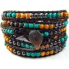 Fashion Natural leather wrap bracelet with mixed stone