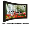 Professional guangzhou manufacturer cinema size 16:9 HD 100 inch Curved Fixed frame screen/ matt white projection screens