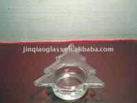 small tree shape clear glass candleholder