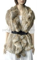 YR-015 two way style Genuine rabbit knitted fur shawl