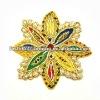 Gold thread flower embroidered applique
