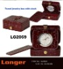 Jewelry box travel clock with imitation leather covered