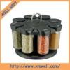 8 pcs glass spice jar set with plastic rack