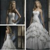 lace formal gown Ball Gown White Satin Beaded Wedding Dress