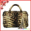 python /snake genuine leather 12 inch retro ladies handbag with tassel unique women handbags