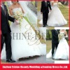 Custom made a-line strapless applique tulle wedding dress with long trains