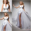 ND-001 New Arrival Halter V-neck Beading Waist White A-line Long Chiffon Evening Dress Fashion 2012