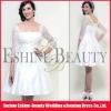 Top popular tea-length satin and lace long sleeve short wedding dresses