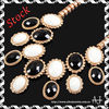 Bubble Necklace Fashion Golden Chain Black & White Oval Resin Beads Pendant Necklace AS0319