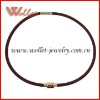 Fashion Deep Red Silicone Necklace with Gold Plating Steel Clasp