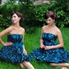 2011 new Heavy beautiful silk flowers, multi-hand circle skirt dress blue Bra LF733