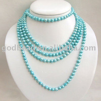 wholesale fashion blue muti-strands freshwater pearl necklace