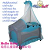 Multi-functional folding rocking with music equipment with mosquito net baby metal playpens