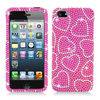 Pink Heart Bling Hard Snap On Cover Case for Apple iPhone 5 6th GEN 5G Accessory