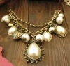 drop pearls necklace costume jewelry handmade faux pearls necklace silver necklace pendant