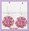 RH-4143F Crystal Ball Dangle Earrings With Ball With Rose Rhinestone