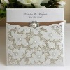 EA493- Personality Laser Cut Wedding Invitation Card with Lace & Buckle & Ribbon