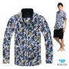 Italian style long sleeve latest brand design slim fit floral pattern casual fancy fashion 100% cotton printing men satin shirt