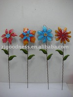 Set of 4 Metal Flower Yard stake for spring season