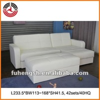White Sectional Sofa bed with Storage and arms