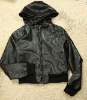 PU leather jacket hoodie
