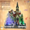 Coloured optic fiber polyresin church house with music
