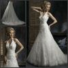 2013 New Design Halter Applique Lace A Line Satin Wedding Dresses