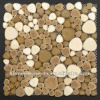 POP003 heart shaped art pattern tile porcelain pebble tile mix color cream brown porcelain pebble tile