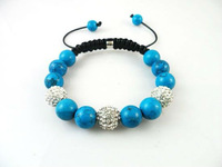 Wholesale Fashion 2012 New Stytle Ctystal Shamballa Bead Turquoise Bracelets