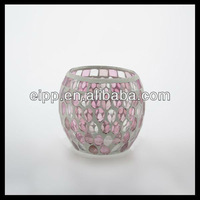 pink color water drop mosaic candle holder