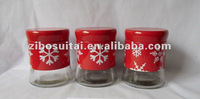 Set 3 Red Stainless Steel Coated Glass Storage Jars sugger coffee teawith Snowflakes Designs For Christmas