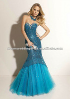 Sweetheart Blue Mermaid Lace Short Front Long Back Prom Dress 2013