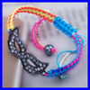 KJL-BL2868 Newest Gunmetal tone mask masque connector colorful string bracelet