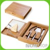 Bamboo Cutting Board With Cheese Wire & Stainless Steel Cheese Tools