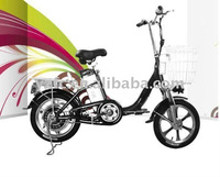 "CE Brushless 16"" lithium battery electric bicycle with shimano gears"