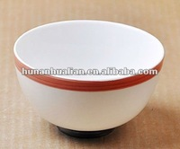 "4"" *2.5""H Rice Bowl in white color with red edge"