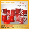 Red mugs and cups