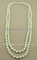 "Beaded 60"" green glass necklace"