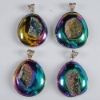 P168 18K GP Mysterious Agate Druzy Geode Pendant semi-precious gemstone wholesale