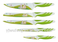 PP&TPR Handle 5pcs Color Non-stick Knives set