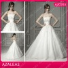 AZ0205 Applique white floor length wedding dresses straoless a line dress