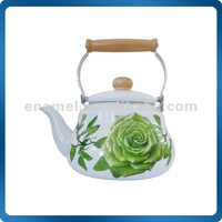 enamel pear shape kettle with wooden handle