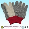 Knitted wrist gloves with PVC dots