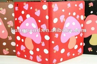 for new ipad 3 cute leather case with mushroom patterns